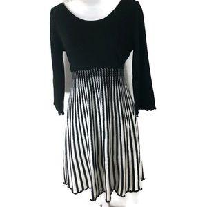 Calvin Klein Black White Long Sleeve Sweater Dress